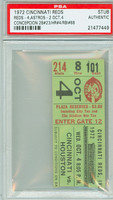 1972 Cincinnati Reds Ticket Stub vs Houston Astros Dave Concepcion Career HR #4 - October 4, 1972 PSA/DNA Authentic