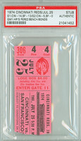 1974 Cincinnati Reds Ticket Stub vs San Francisco Giants HRS: Perez, Bench, Bonds Reds Doubleheader Sweep  - July 25, 1974 PSA/DNA Authentic