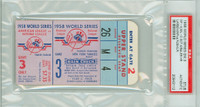 1958 World Series Braves at Yankees - Game 3 Ticket Stub NY 4-0 HR Hank Buaer WP Don Larsen [Y58_SERIES583S_pa_12] PSA/DNA Authentic