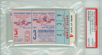 1958 World Series Braves at Yankees - Game 3 Ticket Stub NY 4-0 HR Hank Buaer WP Don Larsen [Y58_SERIES583S_pa_59] PSA/DNA Authentic