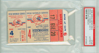 1958 World Series Braves at Yankees - Game 4 Ticket Stub Mil 3-0 WP Warren Spahn LP Whitey Ford [Y58_SERIES584S_pa_43] PSA/DNA Authentic