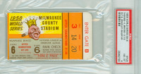 1958 World Series Yankees at Braves - Game 6 Ticket Stub NY 4-3 (10) HR Hank Bauer [Y58_SERIES586S_p8_08] Near Mint to Mint