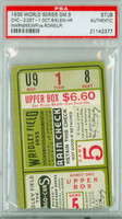 1935 World Series Tigers at Cubs - Game 5 Ticket Stub HR Chuck Klein WP Len Warneke PSA/DNA Authentic