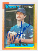 Terry Leach AUTOGRAPH 1990 Topps Royals 