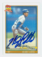 Henry Cotto AUTOGRAPH 1991 Topps Mariners   [SKU:CottH9148_T91BBND]
