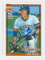 Mike Heath AUTOGRAPH 1991 Topps Tigers 