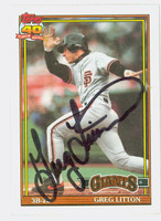 Greg Litton AUTOGRAPH 1991 Topps Giants 