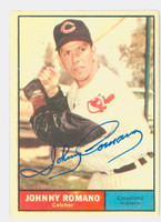 Johnny Romano AUTOGRAPH 1961 Topps #5 Indians CARD IS VG/EX