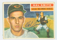 Hal W. Smith AUTOGRAPH 1956 Topps #62 Orioles BAL WHITE BACK CARD IS VG, NO CREASES