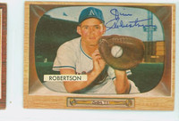 Jim Robertson AUTOGRAPH 1955 Bowman #5 Athletics CARD IS G/VG; SL CREASE