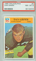 1966 Philadelphia 5 Dan Grimm Atlanta Falcons PSA 8 Near Mint to Mint