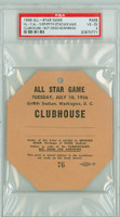 1956 ALL-STAR GAME Griffith Stadium FIELD PASS WP Bob Friend  - July 10, 1956 Very Good to Excellent