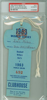 1963 World Series Dodgers at Yankees - Field Pass Dodgers Stadium Full Ticket PSA/DNA Authentic