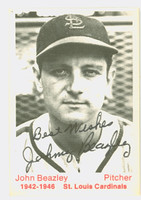 Johnny Beazley AUTOGRAPH d.90 TCMA 1942-1946 St. Louis Cardinals SALUT 'BEST WISHES'