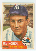 1953 Topps Baseball 35 Irv Noren New York Yankees Fair to Poor