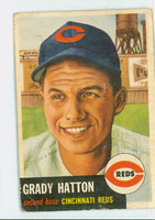 1953 Topps Baseball 45 Grady Hatton Cincinnati Reds Fair to Poor