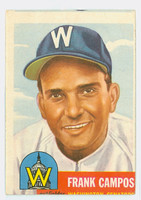 1953 Topps Baseball 51 Frank Campos Washington Senators Fair to Good