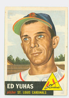 1953 Topps Baseball 70 Ed Yuhas Single Print St. Louis Cardinals Fair to Poor