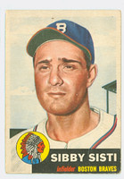 1953 Topps Baseball 124 Sibby Sisti Milwaukee Braves Fair to Good