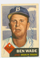 Ben Wade AUTOGRAPH d.02 1953 Topps #4 SINGLE PRINT Dodgers CARD IS CLEAN VG