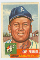 Gus Zernial AUTOGRAPH d.11 1953 Topps #42 Athletics CARD IS CLEAN VG; CRN WEAR