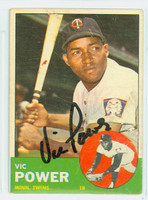 Vic Power AUTOGRAPH d.05 1963 Topps #40 Twins CARD IS F/G; SCRATCHES, SURFACE WEAR