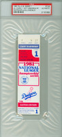 1981 Los Angeles Dodgers Ticket Stub vs Montreal Expos NLCS Game 1 LA 5-1  HR Mike Scioscia  - October 13, 1981 PSA/DNA Authentic
