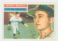 1956 Topps Baseball 44 Windy McCall New York Giants Excellent to Mint White Back