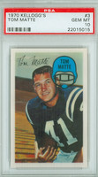 1970 Kellogg Football 3 Tom Matte Baltimore Colts PSA 10 Gem Mint