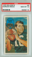 1970 Kellogg Football 9 Norm Snead Philadelphia Eagles PSA 10 Gem Mint