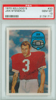 1970 Kellogg Football 20 Jan Stenerud Kansas City Chiefs PSA 10 Gem Mint