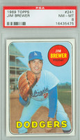 1969 Topps Baseball 241 Jim Brewer Los Angeles Dodgers PSA 8 Near Mint to Mint