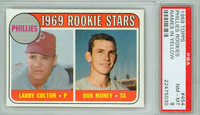1969 Topps Baseball 454 b Phillies Rookies Yellow Letters  PSA 8 Near Mint to Mint