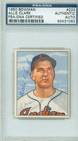 Allie Clark AUTOGRAPH d.12 1950 Bowman #233 Indians PSA/DNA CARD IS SHARP EX