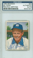 Gil Coan AUTOGRAPH 1950 Bowman #54 Senators PSA/DNA CARD IS CLEAN EX