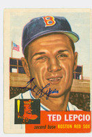 Ted Lepcio AUTOGRAPH 1953 Topps #18 Red Sox CARD IS CLEAN G/VG