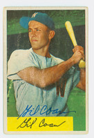 Gil Coan AUTOGRAPH 1954 Bowman #40 Senators CARD IS F/G; SURF WEAR
