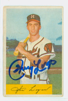Johnny Logan AUTOGRAPH d.13 1954 Bowman #80 Braves 100 RUNS CARD IS F/P; HORIZ CREASE
