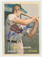 Hal W. Smith AUTOGRAPH 1957 Topps #41 Athletics CARD IS VG/EX