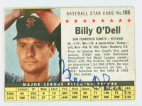 Billy O' Dell AUTOGRAPH 1961 Post #155 Giants BOX CARD IS G/VG  [SKU:ODelB1849_PO61BBVaLG2]