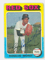 Rogelio Moret AUTOGRAPH 1975 Topps #8 Red Sox CARD IS F/G