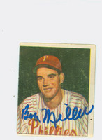 Bob J Miller AUTOGRAPH 1950 Bowman #227 Phillies CARD IS G/VG
