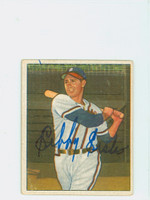 Sibby Sisti AUTOGRAPH d.06 1950 Bowman #164 Red Sox CARD IS F/G; VERT CREASE