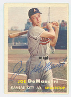 Joe DeMaestri AUTOGRAPH d.16 1957 Topps #44 Athletics CARD IS VG
