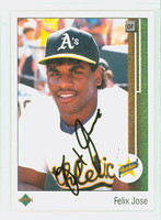 Felix Jose AUTOGRAPH 1989 Upper Deck Athletics 