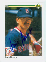 Luis Rivera AUTOGRAPH 1990 Upper Deck Red Sox 