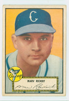 1952 Topps Baseball 50 Marv Rickert Chicago White Sox Good to Very Good Black Back