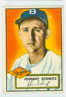 1952 Topps Baseball 136 Johnny Schmitz Brooklyn Dodgers Good to Very Good