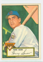 1952 Topps Baseball 35 Hank Sauer Chicago Cubs Very Good to Excellent Red Back
