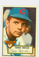 1952 Topps Baseball 172 Eddie Miksis Chicago Cubs Very Good to Excellent